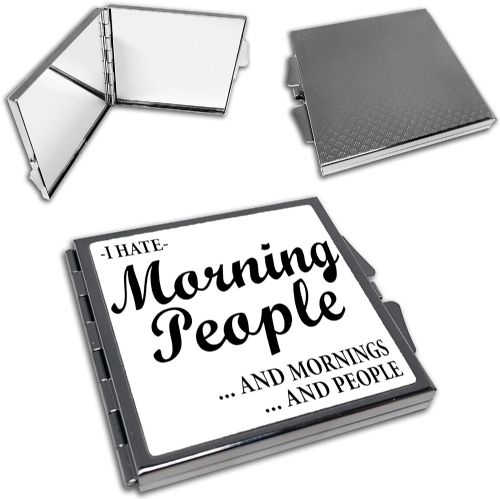 I Hate Morning People Funny Cute Square Compact Mirror